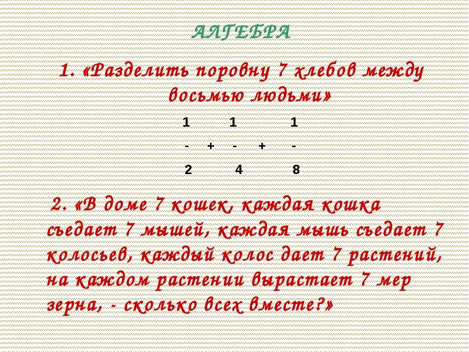 АЛГЕБРА 1. «Разделить поровну 7 хлебов между восьмью людьми» 1 1 1 - + - + -...