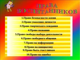 1.Право безопасности жизни 2.Право уважения личности 3.Право творческого сози