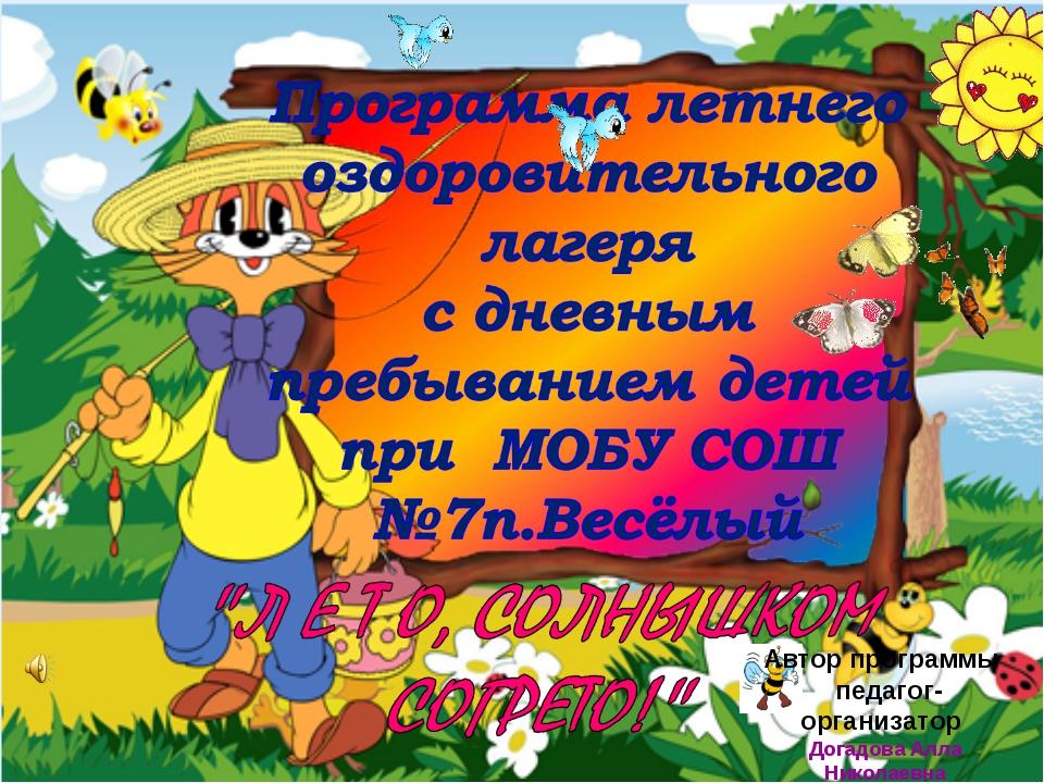 Автор программы педагог-организатор Догадова Алла Николаевна