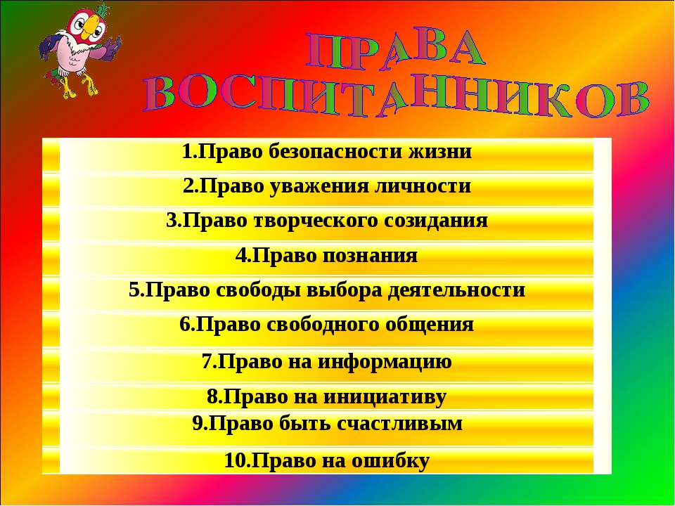 1.Право безопасности жизни 2.Право уважения личности 3.Право творческого сози...