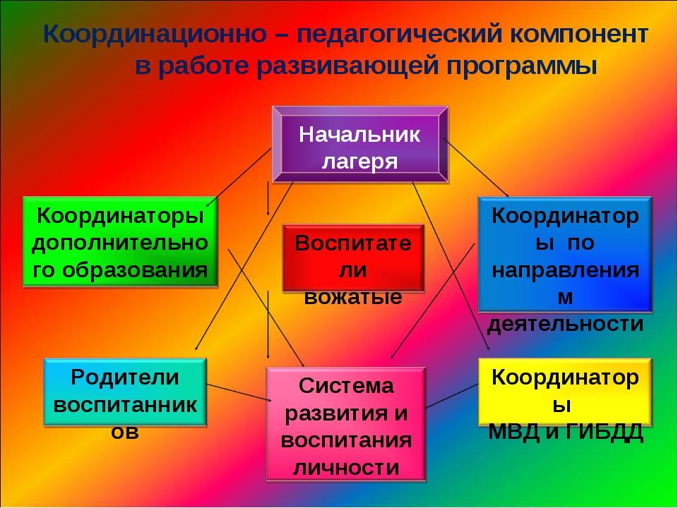 Координационно – педагогический компонент в работе развивающей программы