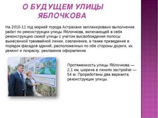О БУДУЩЕМ УЛИЦЫ ЯБЛОЧКОВА Протяженность улицы Яблочкова — 2,1 км, ширина в ли