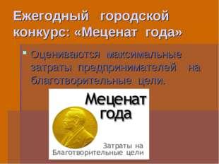 Ежегодный городской конкурс: «Меценат года» Оцениваются максимальные затраты