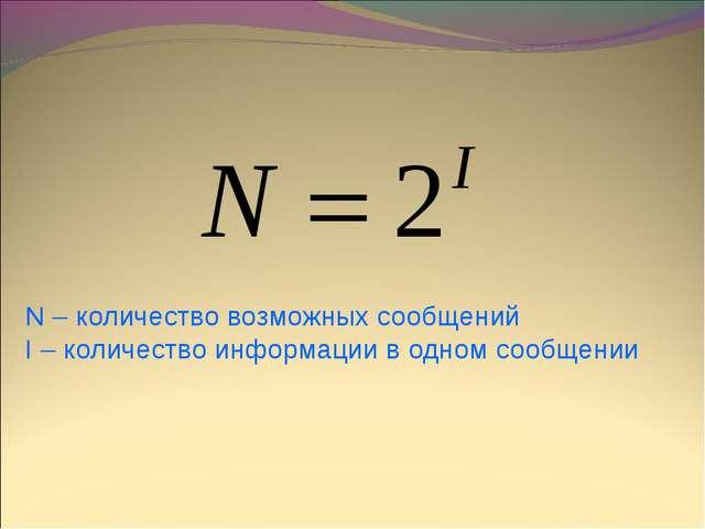 N – количество возможных сообщений I – количество информации в одном сообщении