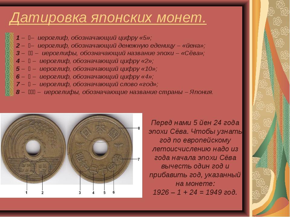 Датировка японских монет.  1 – 五– иероглиф, обозначающий цифру «5»; 2 – 円–...
