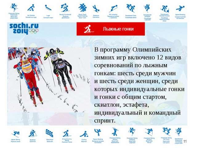 Впрограмму Олимпийских зимних игр включено 12видов соревнований полыжным г...