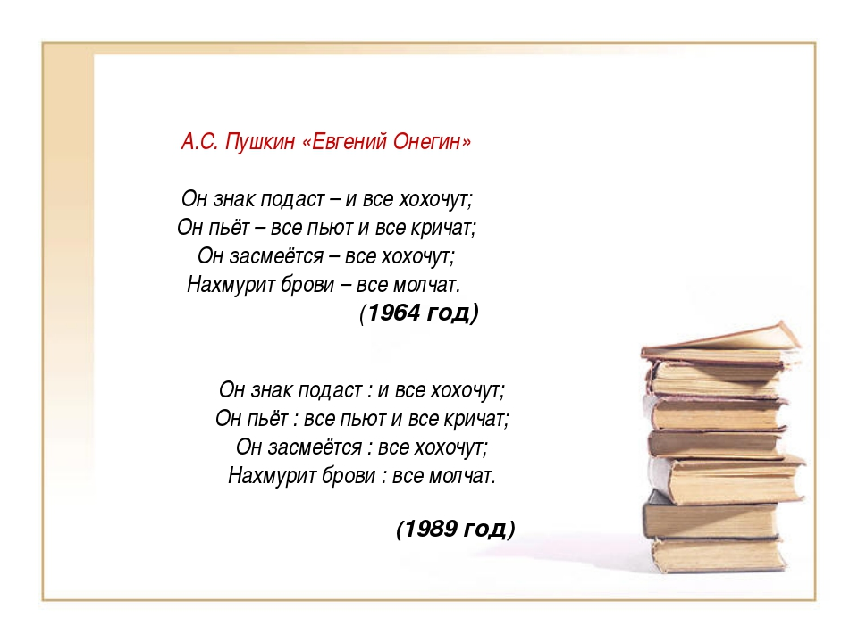 А.С. Пушкин «Евгений Онегин» Он знак подаст – и все хохочут; Он пьёт – все пь...