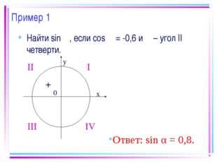 Пример 1 Найти sin α, если cos α = -0,6 и α – угол II четверти. Ответ: sin α