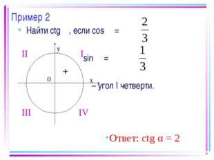 Пример 2 Найти ctg α, если cos α = sin α = α – угол I четверти. Ответ: ctg α
