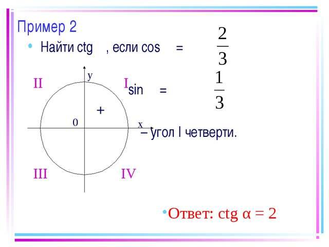 Пример 2 Найти ctg α, если cos α = sin α = α – угол I четверти. Ответ: ctg α...