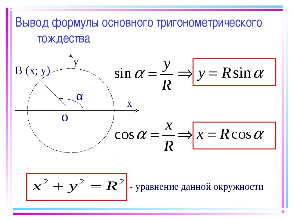 Вывод формулы основного тригонометрического тождества - уравнение данной окру...