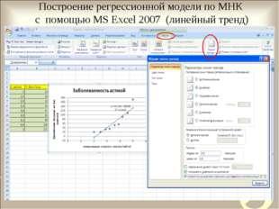 Построение регрессионной модели по МНК с помощью MS Excel 2007 (линейный тренд)