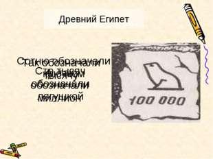 Древний Египет Сотню обозначали крючком Так обозначали тысячу А так обозначал