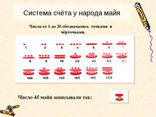 Числа от 1 до 20 обозначались точками и чёрточками. Число 45 майя записывали