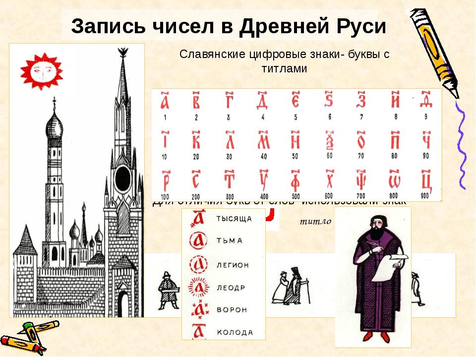 Запись чисел в Древней Руси В Древней Руси буква «а» обозначала число 1 Буква...
