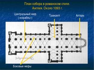 План собора в романском стиле. Англия. Около 1093 г. Центральный неф («корабл