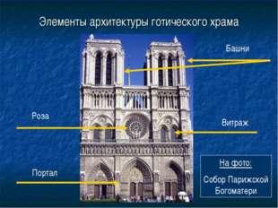 Элементы архитектуры готического храма Портал Роза Башни Витраж На фото: Собо