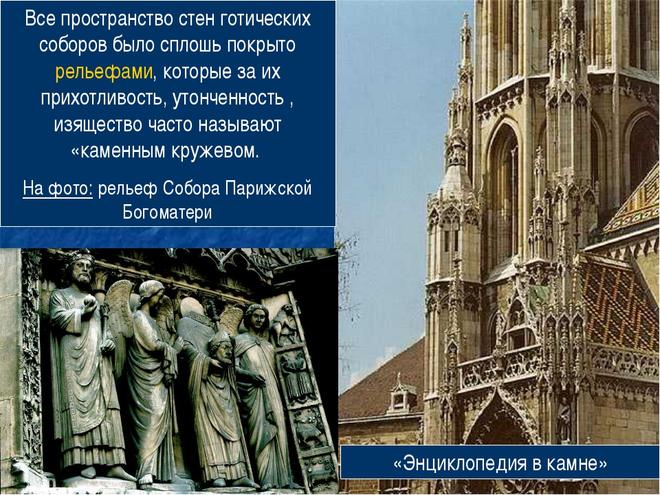 Все пространство стен готических соборов было сплошь покрыто рельефами, котор...