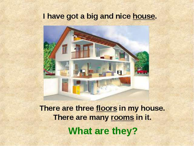 I have got a big and nice house. There are three floors in my house. There ar...