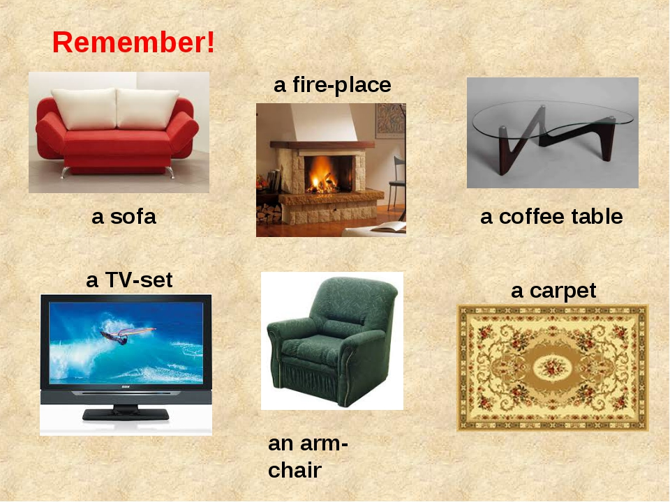 Remember! a sofa a fire-place a coffee table a TV-set an arm-chair a carpet