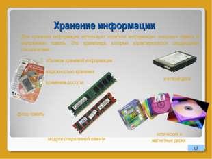 Хранение информации Для хранения информации используют носители информации:
