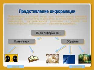 Представление информации Информацию, с которой имеет дело человек можно разде