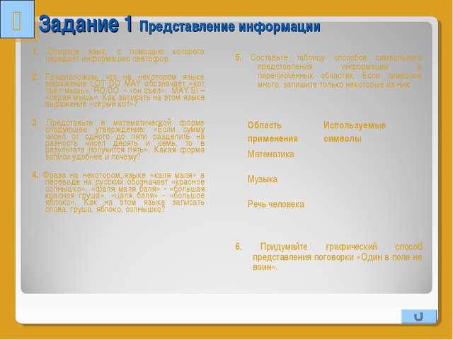 Задание 1 Представление информации 1. Опишите язык, с помощью которого переда...