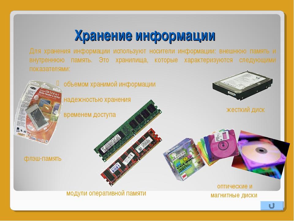 Хранение информации Для хранения информации используют носители информации:...