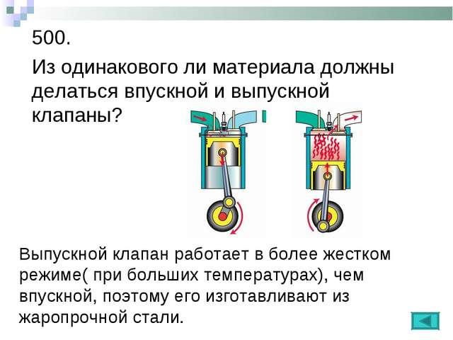 500. Из одинакового ли материала должны делаться впускной и выпускной клапаны...