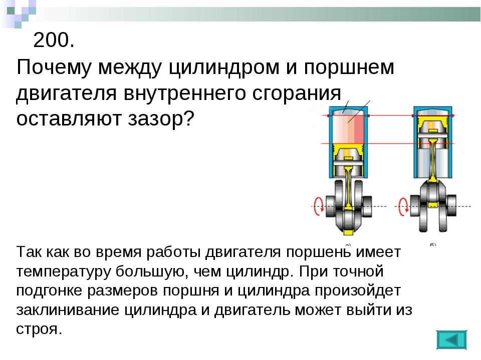 200. Почему между цилиндром и поршнем двигателя внутреннего сгорания оставляю...