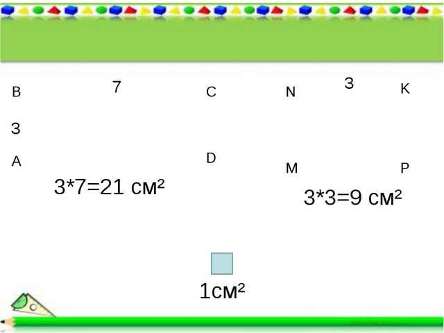 7 3 А В С D 3 M N K P 3*7=21 см² 3*3=9 см² 1см²