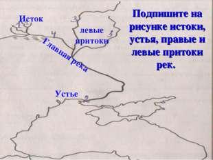 Подпишите на рисунке истоки, устья, правые и левые притоки рек. Исток Устье л