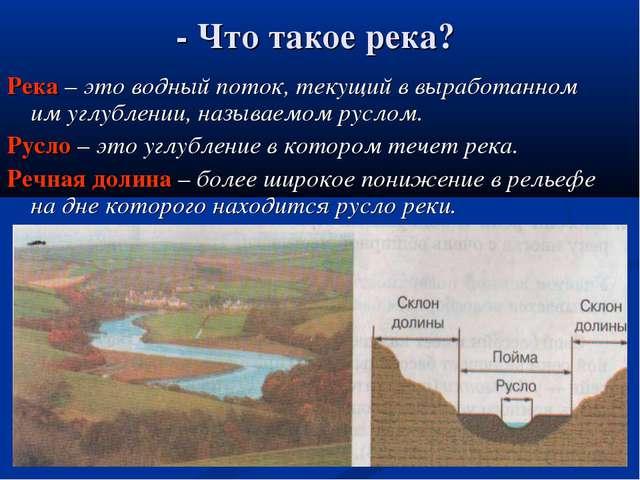 - Что такое река? Река – это водный поток, текущий в выработанном им углублен...