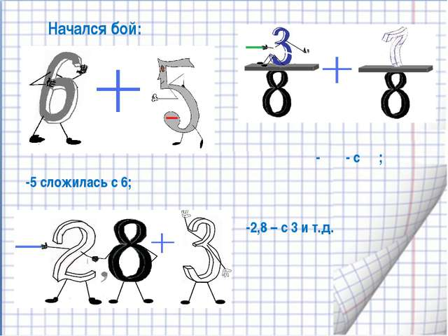 Начался бой: -5 сложилась с 6; -2,8 – с 3 и т.д. - ⅜ - с ⅞;