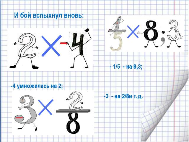И бой вспыхнул вновь: -4 умножилась на 2; -3 - на 2/8и т.д. - 1/5 - на 8,3;