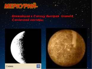 ближайшая к Солнцу быстрая планета Солнечной системы.