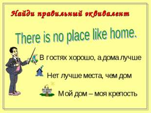 В гостях хорошо, а дома лучше Нет лучше места, чем дом Мой дом – моя крепос