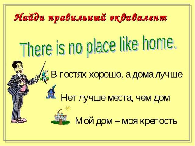 В гостях хорошо, а дома лучше Нет лучше места, чем дом Мой дом – моя крепос...