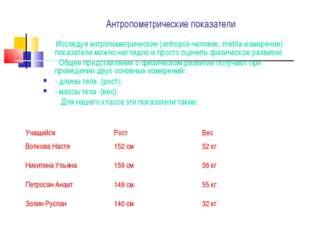 Антропометрические показатели Исследуя антропометрические (antropos-человек,