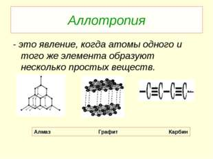 Аллотропия - это явление, когда атомы одного и того же элемента образуют неск