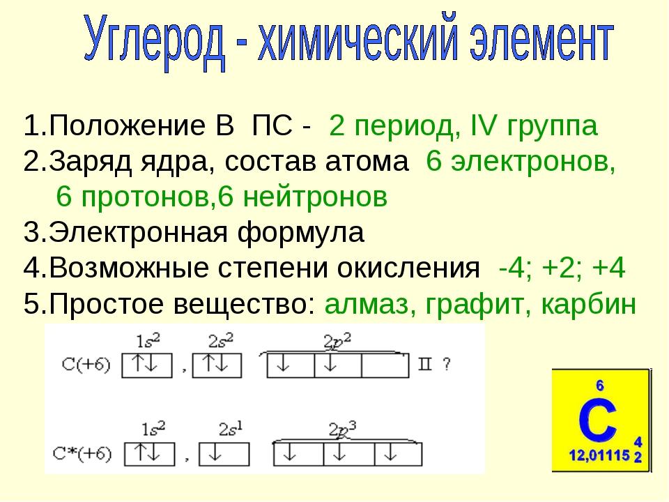 1.Положение В ПС - 2 период, IV группа 2.Заряд ядра, состав атома 6 электрон...