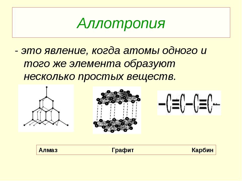 Аллотропия - это явление, когда атомы одного и того же элемента образуют неск...