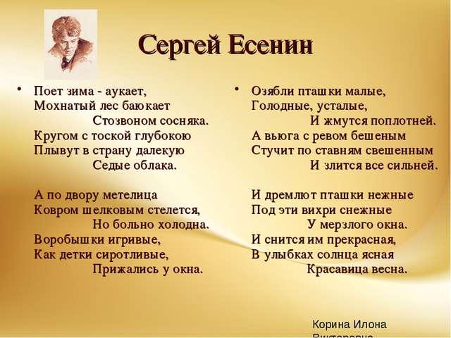 Сергей Есенин Поет зима - аукает, Мохнатый лес баюкает  Стозв...