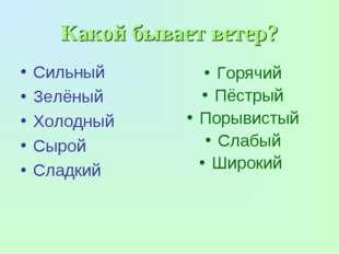 Какой бывает ветер? Сильный Зелёный Холодный Сырой Сладкий Горячий Пёстрый По