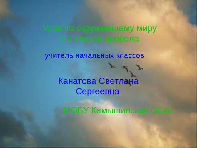Урок по окружающему миру в 1 классе провела Канатова Светлана Сергеевна МОБУ...