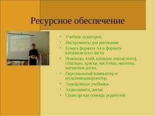 Ресурсное обеспечение Учебная аудитория. Инструменты для рисования Бумага фор