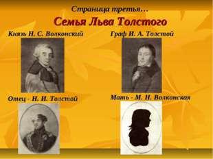 Страница третья… Семья Льва Толстого Князь Н. С. Волконский Граф И. А. Толсто