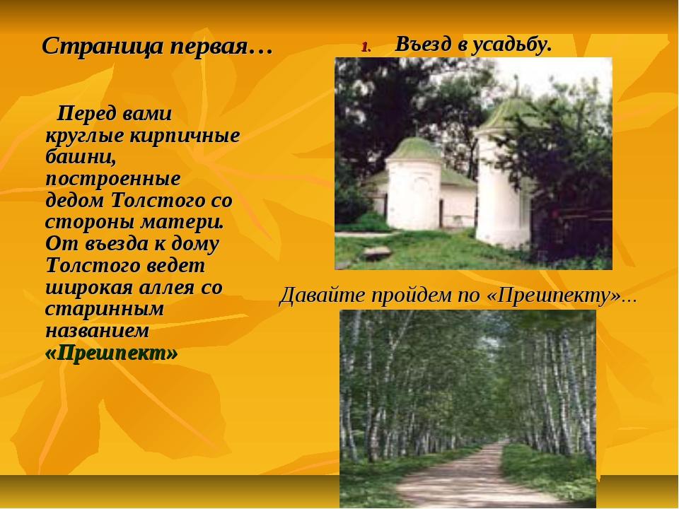 Страница первая…  Перед вами круглые кирпичные башни, построенные дедом Толс...