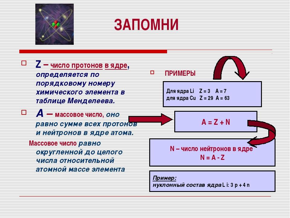ЗАПОМНИ Z – число протонов в ядре, определяется по порядковому номеру химичес...
