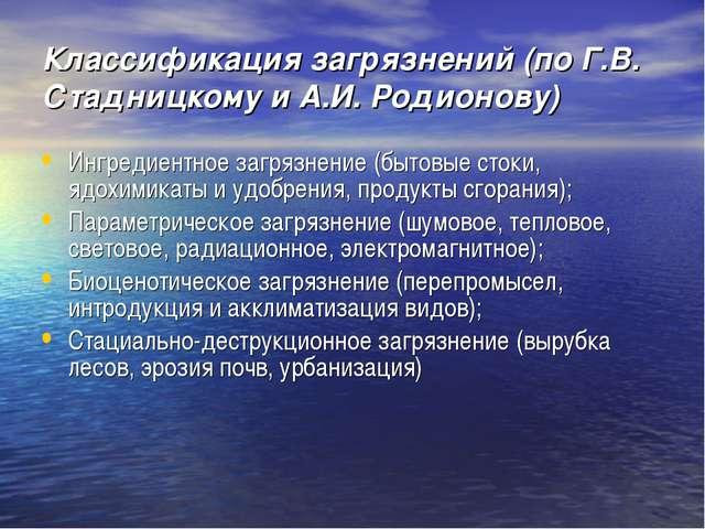 Классификация загрязнений (по Г.В. Стадницкому и А.И. Родионову) Ингредиентно...